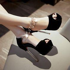 Calçados Femininos - Sandálias - Saltos / Peep Toe - Salto Agulha - Preto / Vermelho / Branco - Courino -Casamento / Social / Festas & de 4760015 2016 por R$152,36