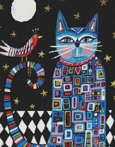Moderno Kit de puntada 'Gato Folk Art' por Heather Pour Painting, Patches, Kids Rugs, Kit, Quilts, Etsy, Drawings, Illustration, Artwork
