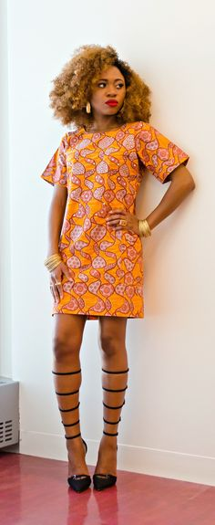 An easy to wear African print shift dress made from Ankara fabric carefully detailed with Swarovski crystals. All outfits are made to order. Available in different aso oke design and fringe. Shipping can take up to 15 working days. African Dresses For Women, African Print Dresses, African Attire, African Wear, African Women, African Prints, African Clothes, African Style, African Inspired Fashion