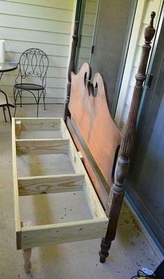 we made a bench from a headboard that was discarded diy painted furniture repurposing upcycling woodworking projects My husband built the bench box frame and attached it to the headboard - June 15 2019 at Furniture Projects, Furniture Making, Furniture Makeover, Home Projects, Diy Furniture, Vintage Furniture, Furniture Plans, Rustic Furniture, Automotive Furniture