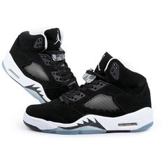 Women Air Jordan 5 Retro Oreo Bigger Size ($73) ❤ liked on Polyvore featuring shoes, retro style shoes, retro shoes and retro inspired shoes