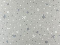 Dekostoff, Sterne, grau  stoffe hemmers