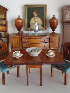 Vintage Tynietoy Doll House Miniature Sheraton Mahogany Drop Leaf Table 1920 30s