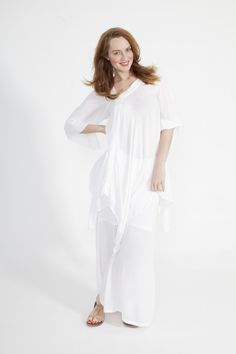 Global Groove Tunic With Seeves in White