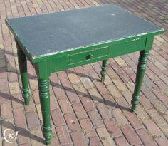 Mooie antieke Café-Tafel / Keuken-Tafel met schuif, Keuken en keukengerei, Antwerpen   Kapaza