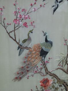 Japanese Embroidery Flowers Chinese silk embroidery on silk panel of a peacock perched on a flowering plum branch with peonies and other birds, circa - Chinese Embroidery, Sashiko Embroidery, Silk Ribbon Embroidery, Embroidery Stitches, Embroidery Patterns, Hand Embroidery, Machine Embroidery, Embroidery Scissors, Embroidery Supplies