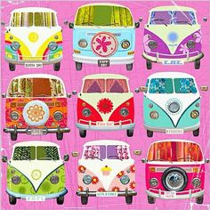 We had twi Volkswagen buses when I was a child. For some reason this art just makes me feel happy.