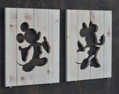 Recortes de Disney Mickey Mouse & Minnie Mouse silueta madera