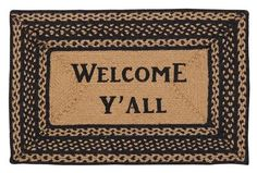 """New Primitive Country BLACK & TAN BRAIDED WELCOME Y'ALL RUG Area Mat 20""""x 30""""  #VHC #Braided"""
