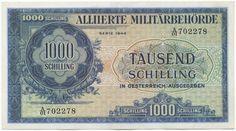 Schilling Aliierte Militerbehörde in Österreich - 1944 Austria, Coins, The Past, History, Banknote, Vienna, Silver, Gold, Stop It