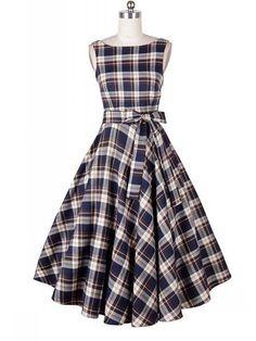 Vintage Elegant Fashion Women Plaid Round Neck Sleeveless Women's Day Dress Plus Size A-line Party Dress
