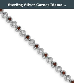 Sterling Silver Garnet Diamond Bracelet. Product Type:Jewelry Jewelry Type:Bracelets Bracelet Type:Gemstones/Natural Stones Material: Primary:Sterling Silver Material: Primary - Color:White Material: Primary - Purity:925 Length of Item:7 in Finish:Polished Plating:Rhodium Chain Length:7 in Chain Width:5 mm Clasp /Connector:Lobster Profile Type:Open Back Stone Type_1:Garnet Stone Creation Method_1:Natural Stone Treatment_1:Not Enhanced Stone Shape_1:Round Stone Color_1:Red Stone Size_1:2.5…
