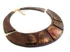Copper color leather necklace /36