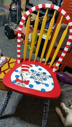 Dr. Seuss activities: DIY Hand-painted teacher chair.  So cute!