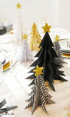 DIY EASY Origami Christmas Trees - perfect for a low maintenance table decor or Holiday decoration for your mantle or home - http://BirdsParty.com