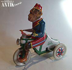 Antik Bazár Sk | Plechová opica na trojkolke. - Predaj Tricycle, Motorcycle, Vehicles, Motorcycles, Car, Motorbikes, Choppers, Vehicle, Tools