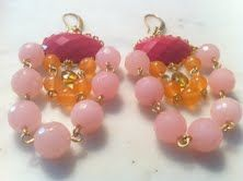 $75  Addie  Pink, pink and pink you know is really my favorite color.. Gorgeous 18 k gold plated multi stone earring .. Very beautiful..