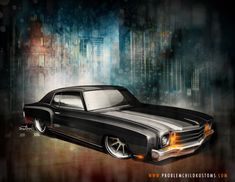 HOT ROD ART • Custom 1972 Monte Carlo rendering.