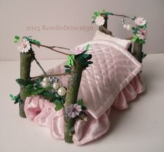 Fairy bed pink flowers with bed linen by MyHandmadeDreams on Etsy