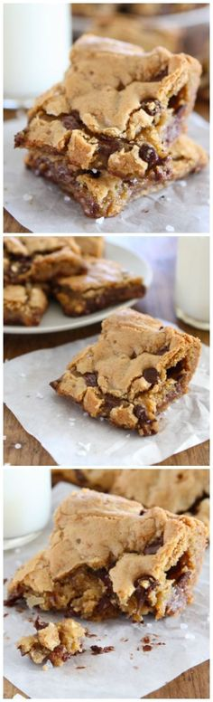 Chocolate Chip Salted Caramel Cookie Bars Recipe on twopeasandtheirpo. Everyone LOVES these bars! The perfect dessert! Just Desserts, Delicious Desserts, Yummy Food, Party Desserts, Yummy Cookies, Yummy Treats, Bar Cookies, Sweet Treats, Baking Cookies