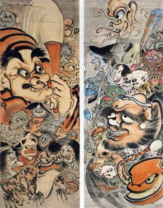 Nightmare of ghosts, monsters and demons, ca. 1870-1889 by Kawanabe Kyosai