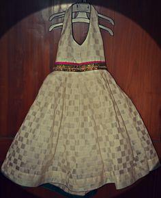Silk Chanderi geometrical pattern dress for 56 yr old by Sravams, $45.00