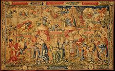 Probably after a design by the Workshop of Bernard van Orley (Netherlandish, ca. 1492–1541/42). The Twelve Ages of Man: The First Three Ages of Man (Birth-18), or Spring, ca. 1515. The Metropolitan Museum of Art, New York. Gift of The Hearst Foundation in memory of William Randolph Hearst, 1953 (53.221.1) | This tapestry, the first from a set equating the life of man with the four seasons, represents Spring. Venus, in the center, stands for the springtime of life. #tapestrytuesday