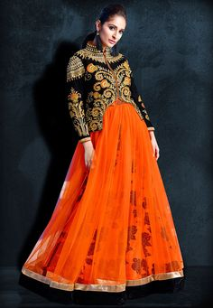 Readymade Net and Art Silk Gown in Orange and Black This Full Sleeve attire with Satin lining is Prettified with Floral Print, Resham, Zari, Stone, Cutbeads, Bullion and Patch Border Work A Separate Black Velvet Jacket in Semi-stitched form will be available from 36 to 40 inches The Gown and Jacket Length are 58 and 21 inches respectively Do note: The length may vary upto 2 inches. Accessories shown in the image are for presentation purposes only.(Slight variation in actual color vs. image…