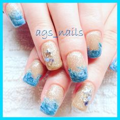 Gel nails Beautiful ocean to sand gel nails with silver starfish and Swarovski crystals