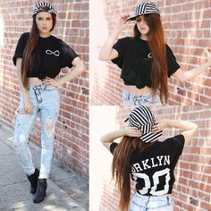Nasty Gal Striped Hat, Tandem Label Brooklyn Tee, Nasty Gal Ripped Acid Wash Jeans, Nasty Gal  Boots