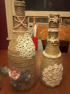 Hemp and dolie covered wine bottles