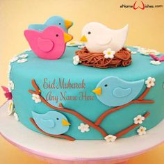 Write name on Cute Sparrow Eid Wish Cake with Name with Name And Wishes Images and create free Online And Wishes Images with name online. - Happy Eid Mubarak Wishes  IMAGES, GIF, ANIMATED GIF, WALLPAPER, STICKER FOR WHATSAPP & FACEBOOK
