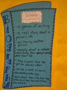 A wonderful piece for biography unit ideas for primary grades. Incorporate reading and writing with these creative ideas are sure to engage your students! Ela Anchor Charts, Reading Anchor Charts, Teaching Writing, Student Teaching, Teaching Ideas, Teaching English, Reading Genres, Reading Strategies, Comprehension Activities