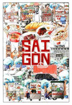 Retro Typography, Retro Font, Vietnam Restaurant, Vietnam History, Travel Illustration, Food Drawing, Mural Art, Art Studies, Food Illustrations