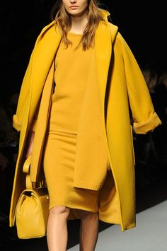 MaxMara at Milan Fashion Week Fall 2013 - StyleBistro. i treat myself with the very best in life and i am only speaking highly of myself and others. I am well aware that I am high quality, and so are other people. High Fashion, Winter Fashion, Fashion Show, Milan Fashion, Womens Fashion, Max Mara, Mellow Yellow, Mustard Yellow, Honey Mustard