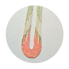 The Enamoured Necklace  Pink Coral with Vintage Color palette - Inspired by the palette of vintage make-up vanities features 4-5mm rose pink coral beads and is finished with bone white, gold, and pale green Czech seed beads. by iswasandwillbe