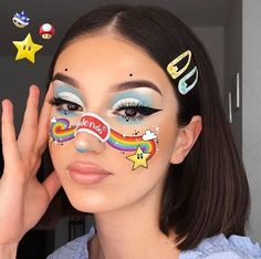 So creative! Rainbow Road Mario Kart Double Dash inspo o Creative Makeup Looks Creative Dash Double Inspo Kart Mario rainbow Road Cute Makeup Looks, Makeup Eye Looks, Eye Makeup Art, Colorful Eye Makeup, Halloween Makeup Looks, Crazy Makeup, Pretty Makeup, Edgy Makeup, Baddie Makeup