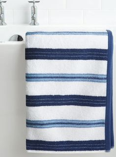 Blue Devon Stripe Bath Towel - towels  - Home, Lighting & Furniture