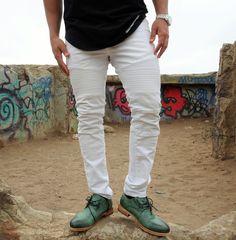 2865e9b969e Nokwal - Slim-fit Biker Fashion Jeans - White Biker Fashion, Biker Style,