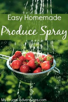Whip up this super simple produce spray to thoroughly clean your fruits and veggies.  A great way to remove as much pesticide residue as possible.