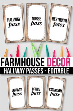 Looking for hallway passes for your preschool, kindergarten and first-grade classroom? These cute printable labels are for you, plus the editable labels will help you make your own labels.  The editable labels will help you make your own labels. #hallwaypasses #bathroompasses