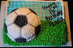 Soccer Birthday cake - Sheet cake and a soccer ball cake on top.