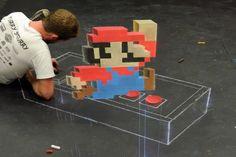 Watch a Time-Lapse of an Artist Drawing 8-Bit Super Mario 3D Chalk Art
