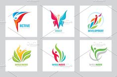 Abstract Human Vector Logo Set by serkorkin on @creativemarket