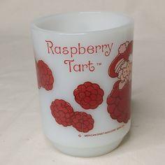 Vtg Anchor Hocking Raspberry Tart Mug Milk Glass Coffee Cup Friends of Strawberry Shortcake American Greetings Cartoon MCMLXXX 80s Nostalgia