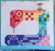 Sewing Machines Best - Stitch Happens is a scrap friendly 37 inches x 40 inches quilt, great for hanging in your sewing space. It is simple and fun to piece and could also be easily adjusted to a lap quilt with the addition of some colorful borders. Machine À Quilter, Sewing Machine Quilting, Quilting Projects, Quilting Designs, Sewing Projects, Sewing Tips, Sewing Hacks, Sewing Tutorials, Quilting Tutorials