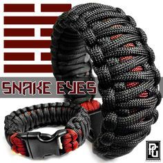 Snake Eyes themed paracord bracelet, available at www.paragearz.com.