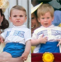 """""""Looks like has decided Uncle Harry is his style icon when it comes to Buckingham Palace moments, today Louis was wearing an identical outfit to one of Harry's from back in the day 📸 Prince Harry And Kate, Louis And Harry, Prince William And Kate, Princess Diana Family, Royal Princess, Princess Charlotte, Lady Diana, Duchess Kate, Duke And Duchess"""