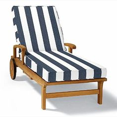 Double-Piped Outdoor Chaise Cushion