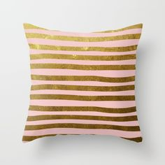 Gold foil and pastel blush pink cushion from Society6
